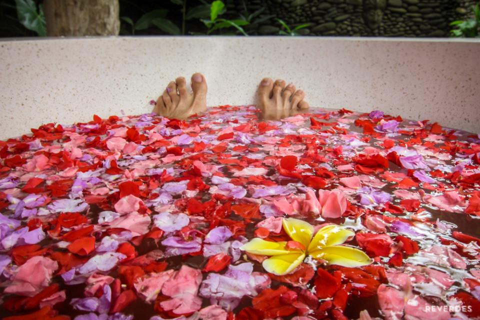 Baño caliente de flores acompañado de un té de lemongrass con jengibre