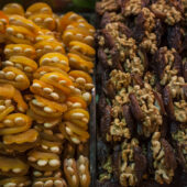 Orejones y dátiles con frutos secos