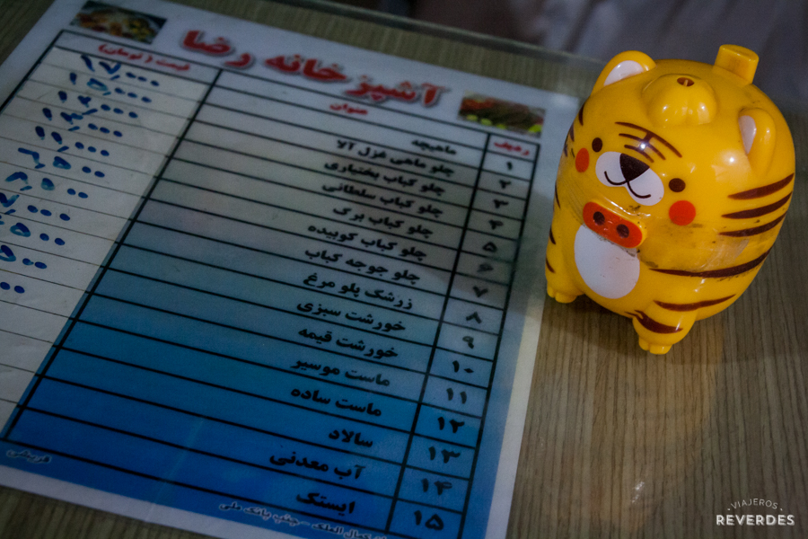 Menú en farsi
