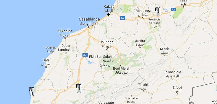 Mapa restaurantes veganos y vegetarianos Marruecos